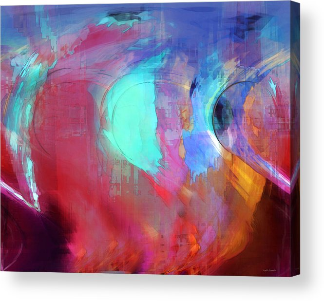Abstract Acrylic Print featuring the digital art The Afterglow by Linda Sannuti