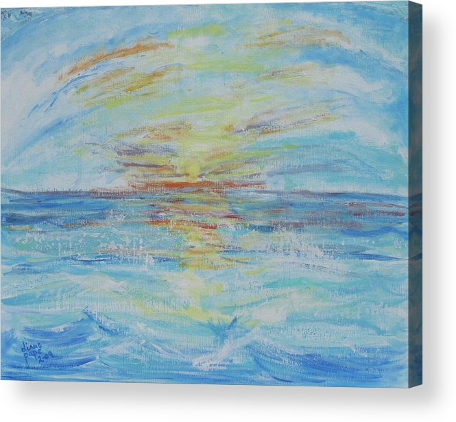 Ocean Acrylic Print featuring the painting The Golden Lady by Diane Pape