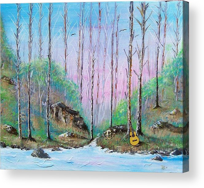 Landscape Acrylic Print featuring the painting Trees With Cuatro by Tony Rodriguez