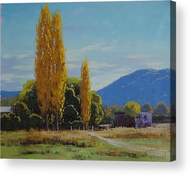 Fall Acrylic Print featuring the painting Tumut Farm by Graham Gercken