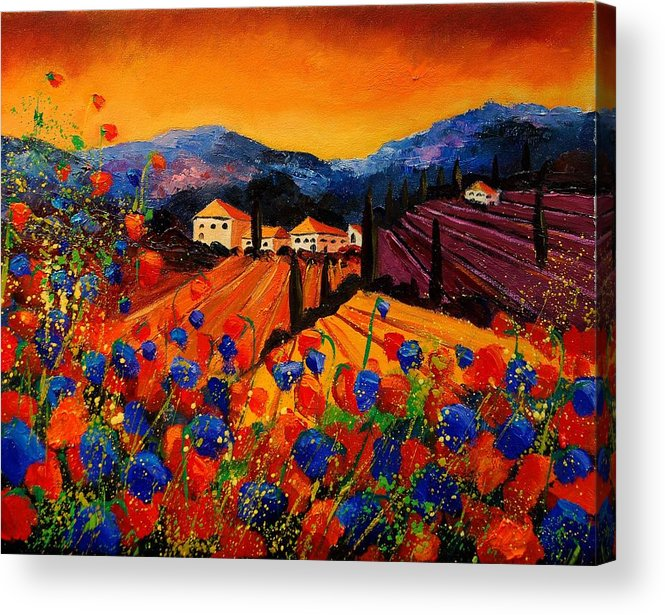 Poppies Acrylic Print featuring the painting Tuscany Poppies by Pol Ledent