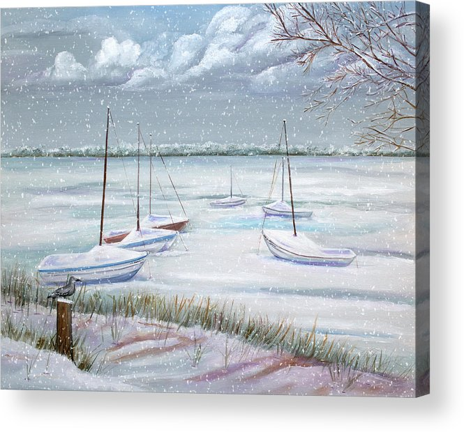 Seascape Acrylic Print featuring the painting Winter Blue by Dorothy Riley