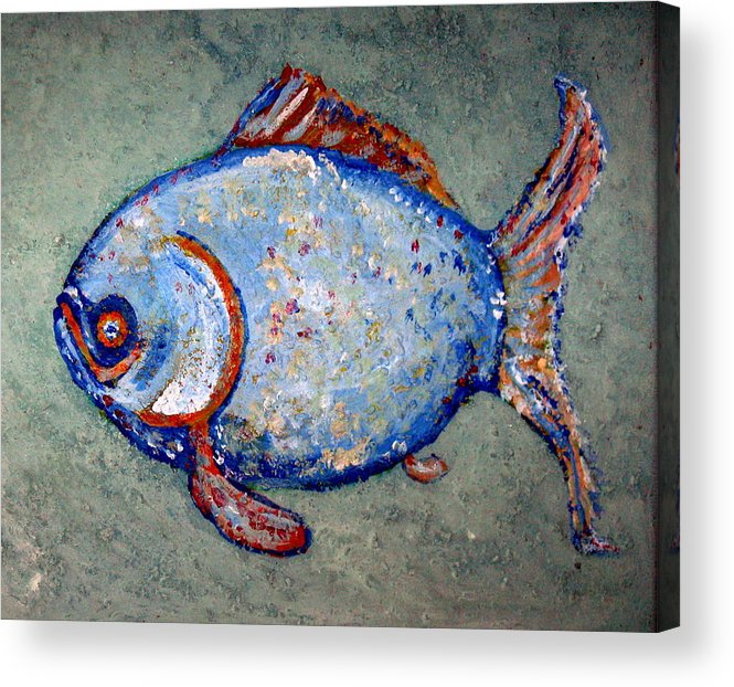 Fish Acrylic Print featuring the painting Blue Fish by Jane Williams Clayton