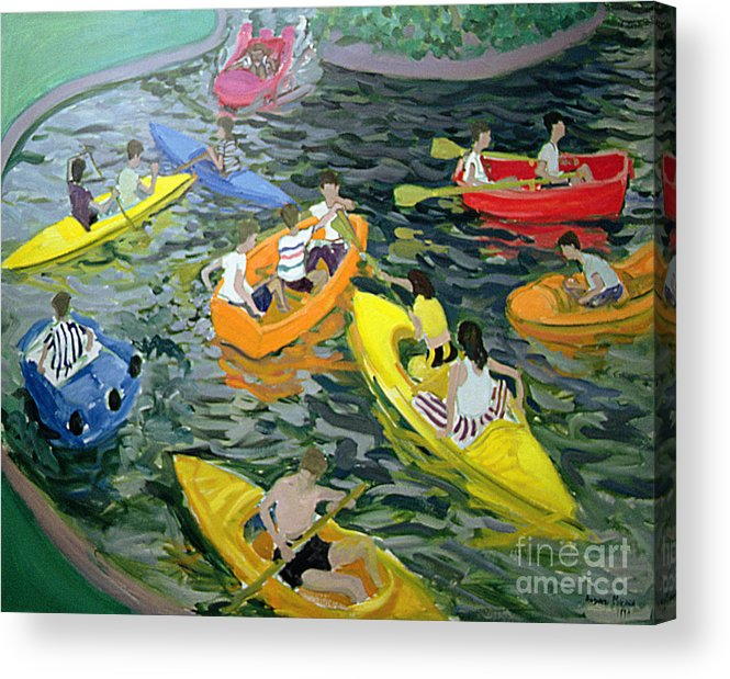Canoe Acrylic Print featuring the painting Canoes by Andrew Macara
