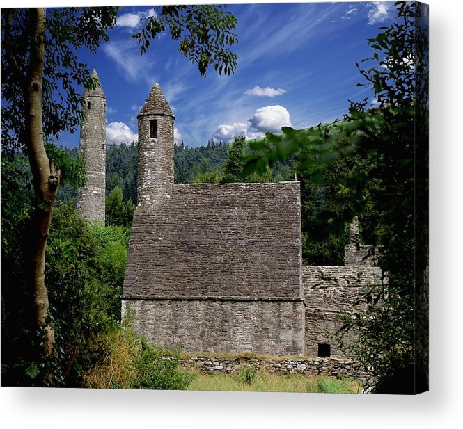 Architectural Exterior Acrylic Print featuring the photograph Chapel Of Saint Kevin At Glendalough by The Irish Image Collection