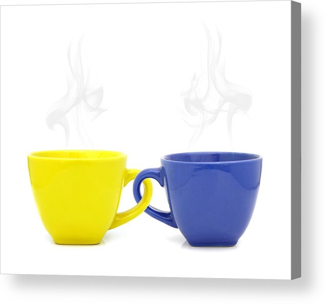 Cup Acrylic Print featuring the photograph Color Cup With Hot Drink On White Background by Natthawut Punyosaeng