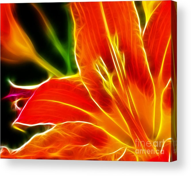 Flower - Electric Lily - Abstract Acrylic Print featuring the photograph Flower - Electric Lily - Abstract by Paul Ward