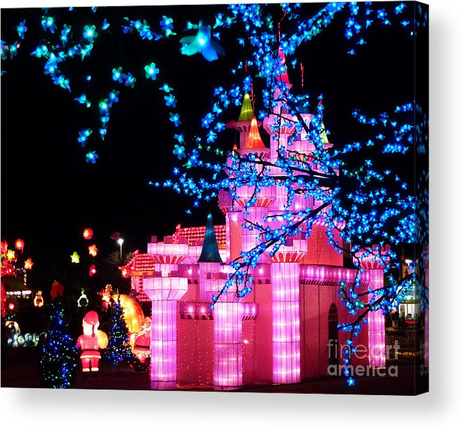 Disneyland Acrylic Print featuring the photograph Holiday Lights 8 by Xueling Zou