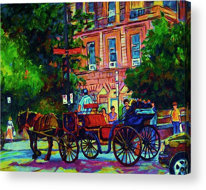 Rue Notre Dame Acrylic Print featuring the painting Horsedrawn Carriage by Carole Spandau