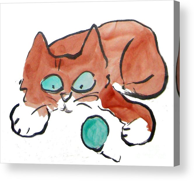 """Funny Happy Humor Cute Animal Whimsy Whimsical Pets Christmas """"christmas-cat"""" """"christmas Kitten""""  Cats Acrylic Print featuring the painting Pat Pat Pat by Ellen Miffitt"""