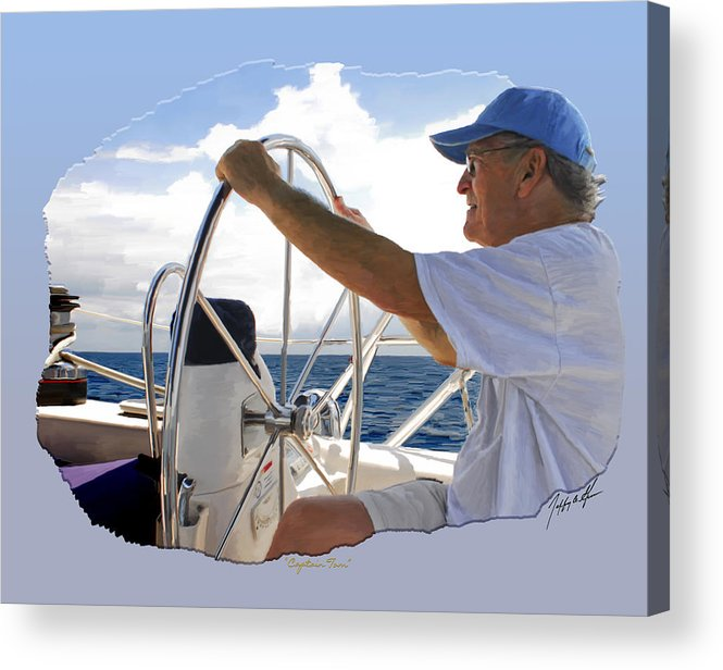 Sail Boating Acrylic Print featuring the digital art Sailing With Capt. Tom by Jeffrey Graves