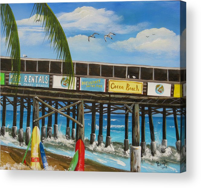 Surf Boards Acrylic Print featuring the painting Surfs Up by Bruce Reigle