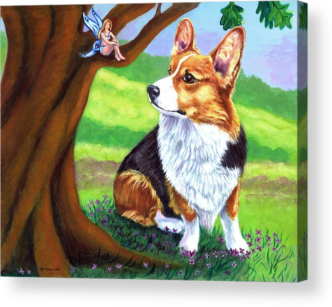 Pembroke Welsh Corgi Acrylic Print featuring the painting The Oak Tree Fae by Lyn Cook