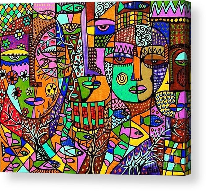 Women Acrylic Print featuring the painting Tree Of Life Tribal Spirts by Sandra Silberzweig