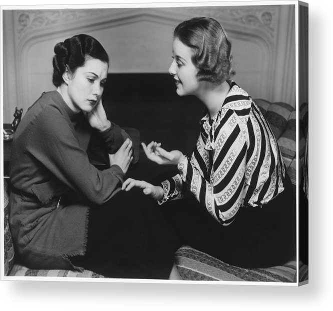 25-29 Years Acrylic Print featuring the photograph Woman Consoling Friend At Fireplace, (b&w) by George Marks