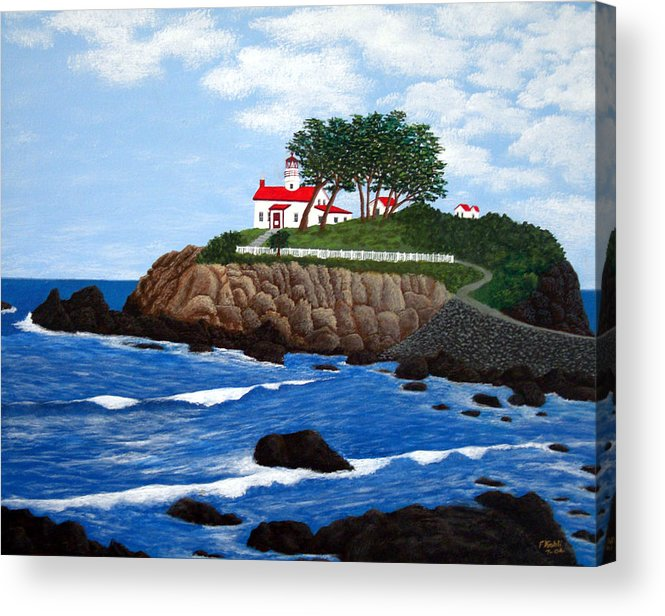 Lighthouse Paintings Acrylic Print featuring the painting Battery Point Lighthouse by Frederic Kohli