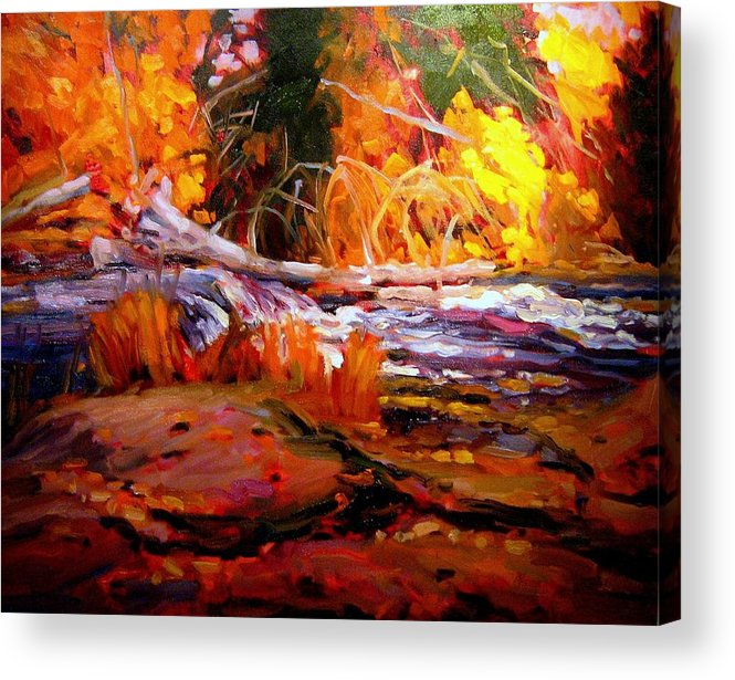 Landscape Paintings Acrylic Print featuring the painting Cascade by Brian Simons