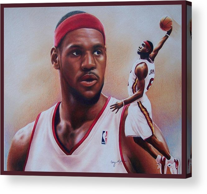 Lebron Acrylic Print featuring the drawing Lebron James by Cory McKee