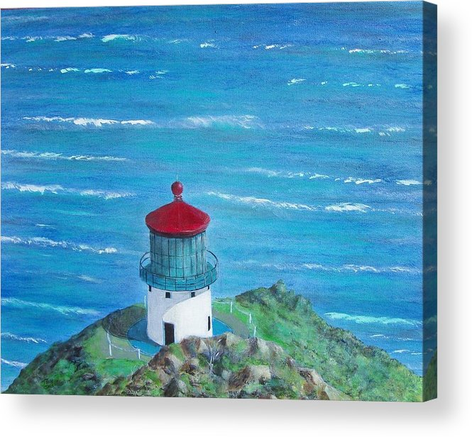 Lighthouse Acrylic Print featuring the painting Lighthouse by Tony Rodriguez