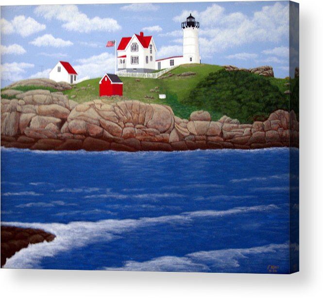 Lighthouses Acrylic Print featuring the painting Nubble Lighthouse by Frederic Kohli