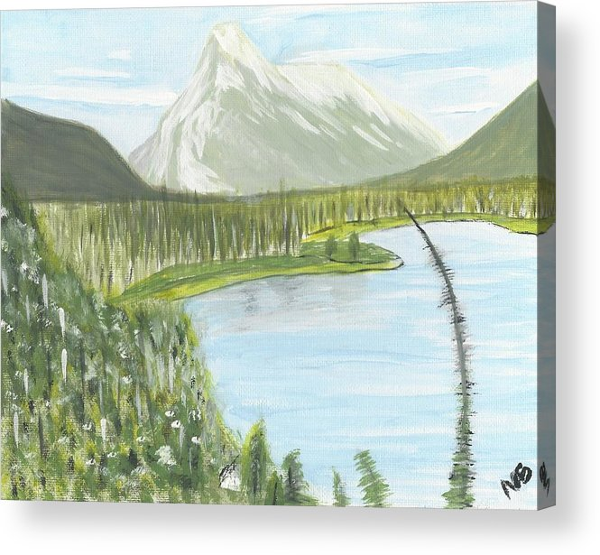 Acrylic Acrylic Print featuring the painting Rundle From Banff by Nicki Bennett