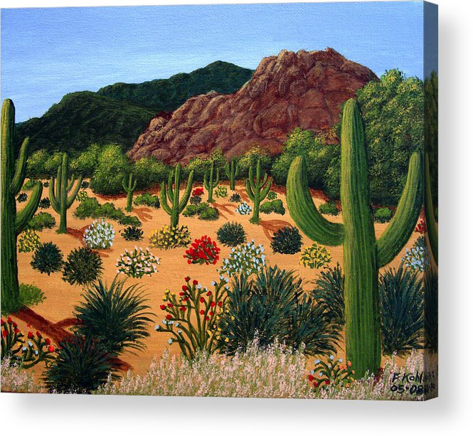 Landscape Paintings Acrylic Print featuring the painting Saguaro Desert by Frederic Kohli