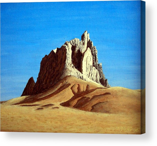 Landscape Paintings Acrylic Print featuring the painting Ship Rock by Frederic Kohli