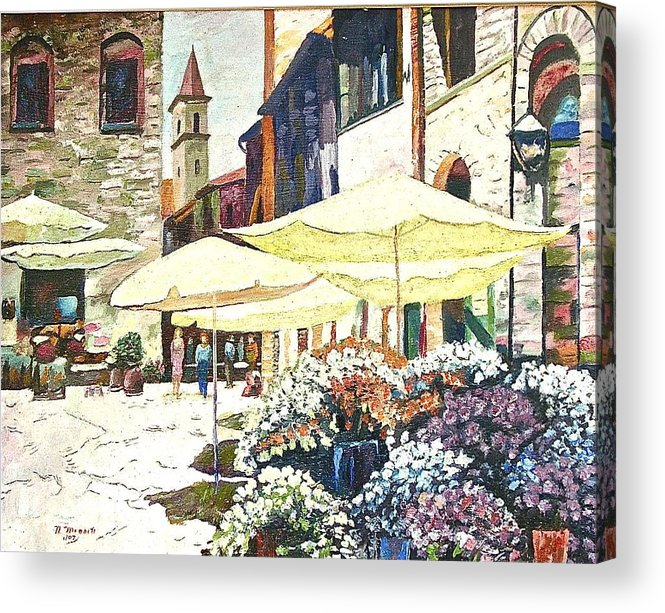 Citiscape Painting Acrylic Print featuring the painting Italian Piazza by Nicholas Minniti