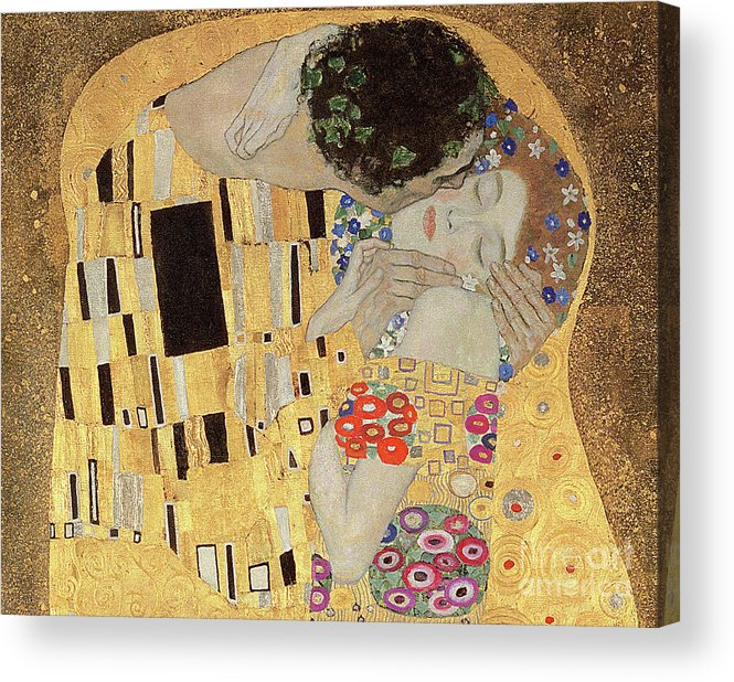 21d41a77af1 Klimt Acrylic Print featuring the painting The Kiss by Gustav Klimt
