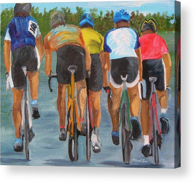 Cycling Acrylic Print featuring the painting A Nice Day For A Ride by Michael Lee