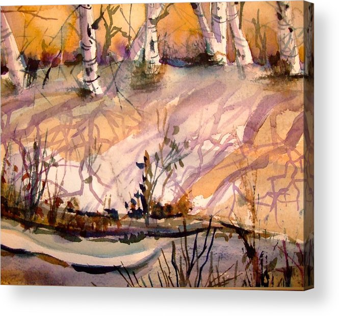 Snow Acrylic Print featuring the painting A Quiet Light by Mindy Newman
