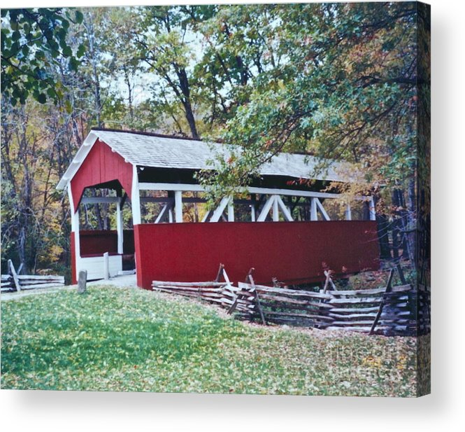 Pictures Of Covered Bridges Acrylic Print featuring the photograph Adam Millers Bridge by Penny Neimiller