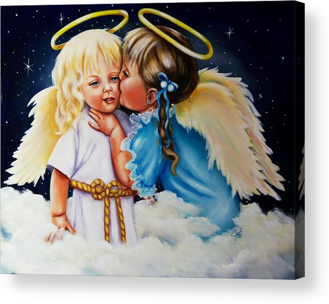 Angels Acrylic Print featuring the painting Angel Kiss by Joni McPherson