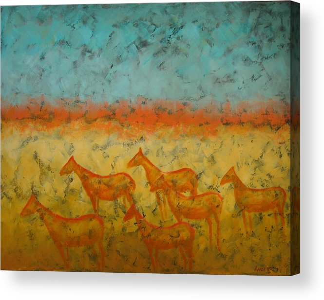 Landscape Acrylic Print featuring the painting At Dawn by Aliza Souleyeva-Alexander
