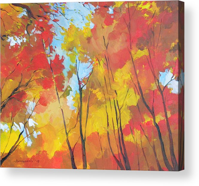 Landscape Acrylic Print featuring the painting Autumn Leaves by Alessandro Andreuccetti