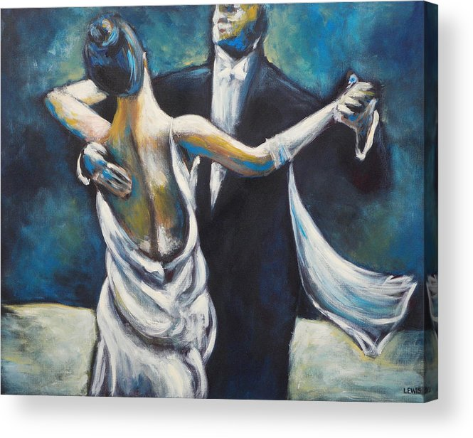 Dance Acrylic Print featuring the painting Ballroom Dancers by Ellen Lewis