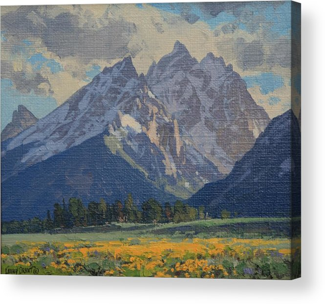 Landscape Acrylic Print featuring the painting Balsamroot In Bloom by Lanny Grant