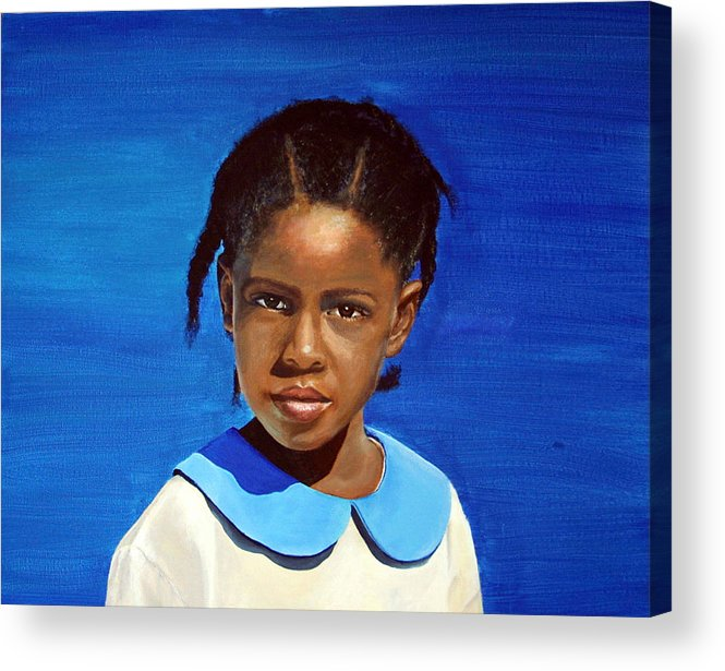 Portrait Acrylic Print featuring the painting Barbuda School Girl by Fiona Jack
