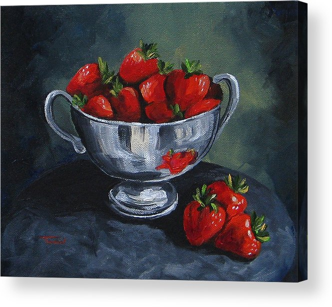 Strawberries Acrylic Print featuring the painting Bowl Of Strawberries by Torrie Smiley