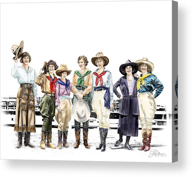 Cowgirl Acrylic Print featuring the painting Buckin Horse Suffragettes by Shirley Morris