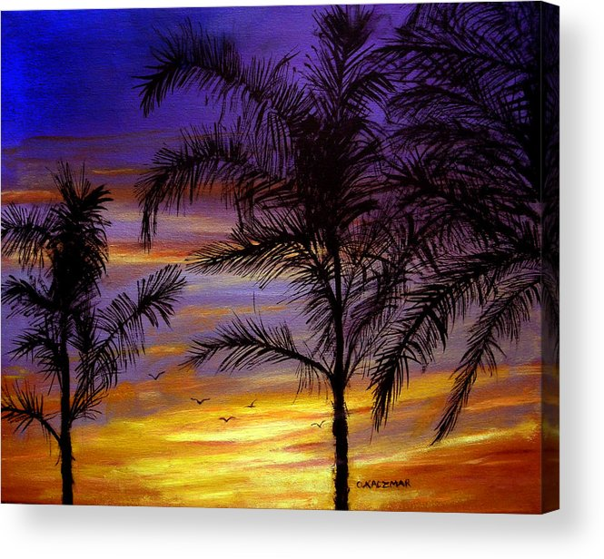 Landscape Acrylic Print featuring the painting California Sunset by Olga Kaczmar
