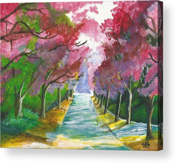 First Acrylic Print featuring the painting Cherry Blossom Lane by Nicki Bennett