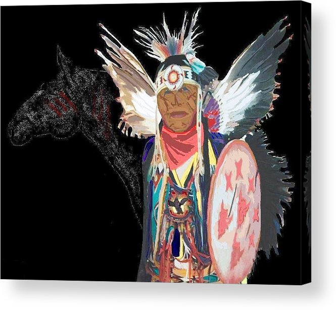 Native American Acrylic Print featuring the digital art Chief by Carole Boyd