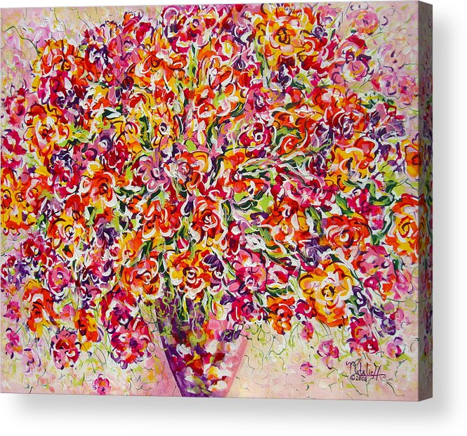 Framed Prints Acrylic Print featuring the painting Colorful Organza by Natalie Holland