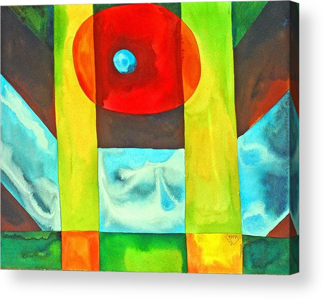 Abstract Spiritual Consciousness Non-conceptual Colourful Acrylic Print featuring the painting Consciousness Floating Free Of Concepts by Jennifer Baird