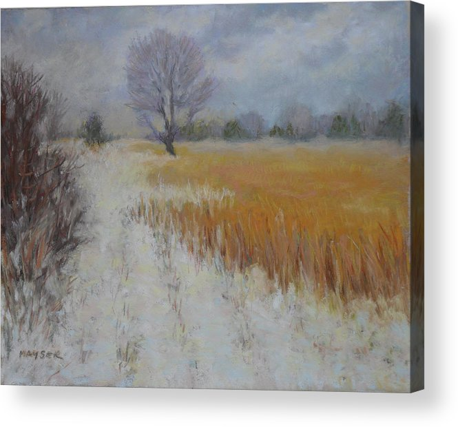 Landscape: Snowy View Of Farmers Field Under An Overcast Gray Sky Acrylic Print featuring the painting Cream Of Wheat by Julie Mayser