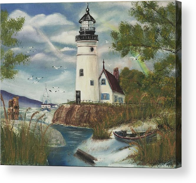 Acrylic Print featuring the painting Dads Lighthouse by Darlene Green