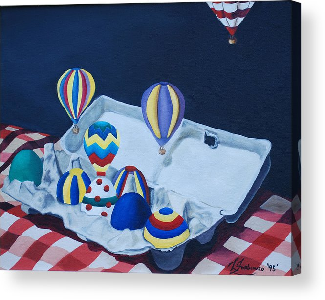 Eggs Acrylic Print featuring the painting Egg Balloons by Lisa Gabrius