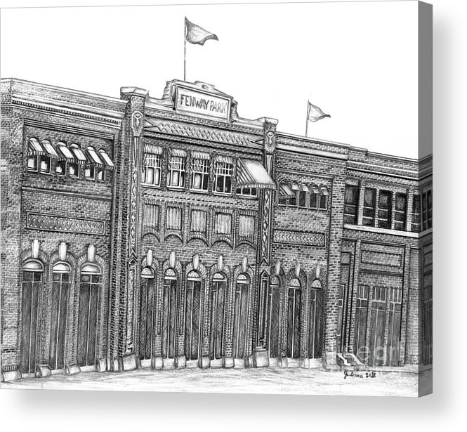 Fenway Park Acrylic Print featuring the drawing Fenway Park by Juliana Dube