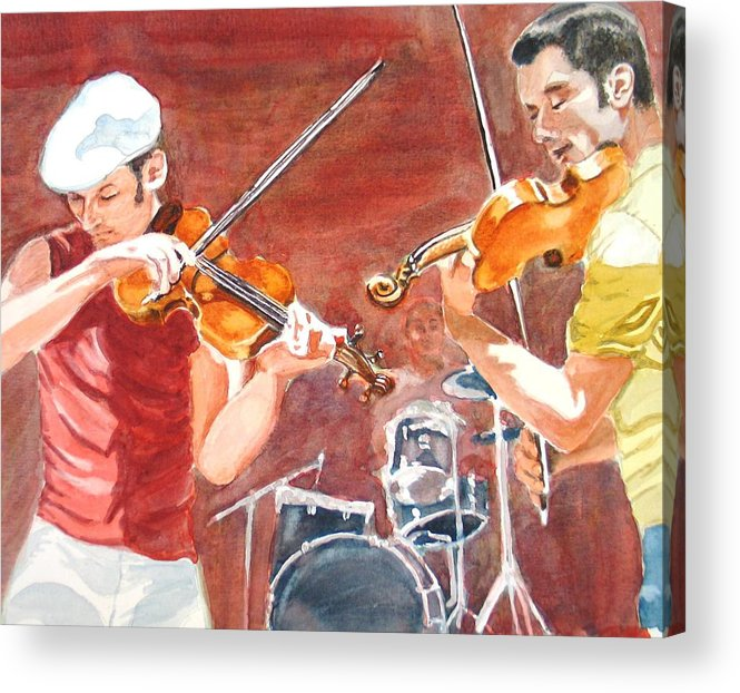 Musicians Acrylic Print featuring the painting Fiddles by Karen Ilari